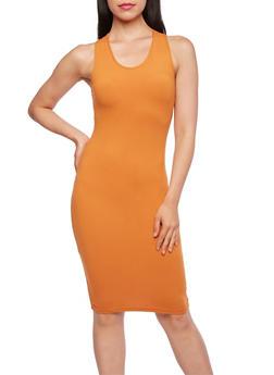 Sleeveless Bodycon Dress with Racerback - 3094060583250