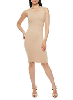 Sleeveless Bodycon Dress with Racerback - 3094060583250