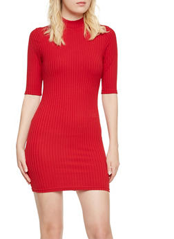 Ribbed Bodycon Dress with Mock Neck - 3094060583656