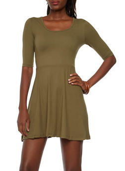Solid Fit and Flare Dress with Three Quarter Sleeves - 3094060584250