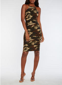 Sleeveless Camo Bodycon Midi Dress - 3094060584474