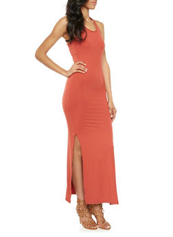 Brushed Knit Racerback Maxi Dress with Side Slits - 3094060585250