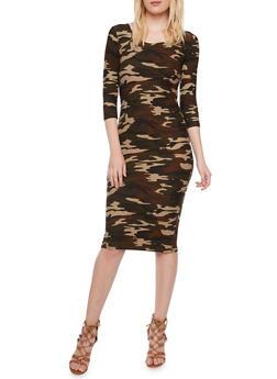 Camo Bodycon Dress - 3094060585374