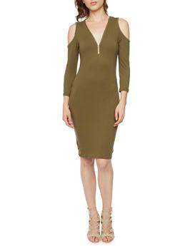 Cold Shoulder Dress with Zippered V Neck - 3094060587250
