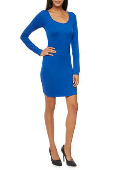 Mini Dress with Long Sleeves and Scoop Neck - 3094060589250