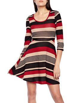 Striped Knit Skater Dress with ¾ Sleeves,BLACK,medium