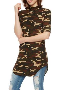 Camo Print Tunic Top with Mock Neck - 3094061638456