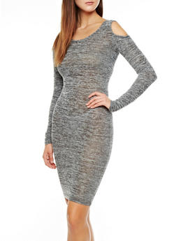 Marled Knit Cutout Shoulder Scoop Neck Midi Dress,BLACK,medium