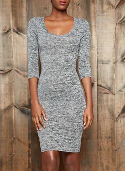 Marled Knit Midi Dress With Three-Quarter Sleeves,BLACK,medium