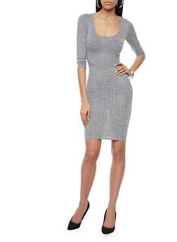 Marled Wide-Ribbed Bodycon Midi Dress,BLACK,medium
