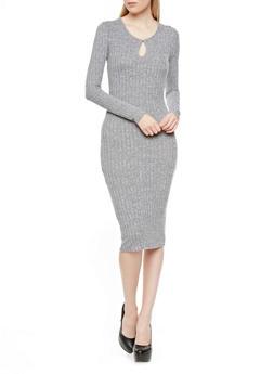 Long Sleeve Rib-Knit Bodycon Midi Dress with Keyhole Cutout,BLACK,medium