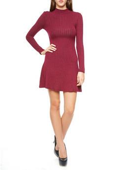 Rib-Knit  Long Sleeve Mock Turtleneck Flare Dress,WINE,medium