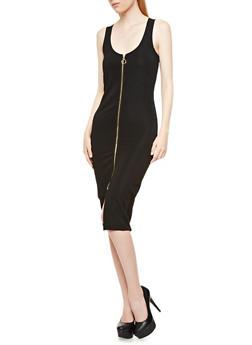 Sleeveless Zip-Front Bodycon Midi Dress,BLACK,medium