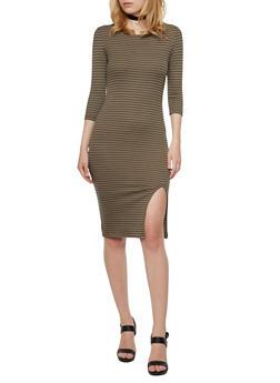Striped Rib Knit Midi Dress - 3094061639412
