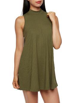 Sleeveless Swing Dress with Mock Neck - 3094061639414