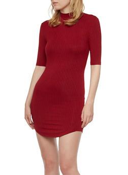 Rib Knit Mock Neck Mini Dress - 3094061639427