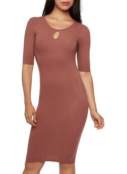 Solid Rib Knit Dress with Keyhole Cutout - 3094061639432
