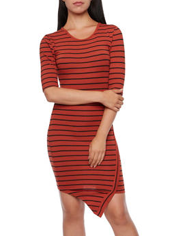 Asymmetric Hem Bodycon Dress with Striped Print - 3094061639436