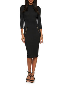 Bodycon Dress with Zip Accents and Mock Neck - BLACK - 3094061639447