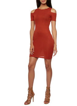 Cold Shoulder Mini Dress in Ribbed Knit - 3094061639448