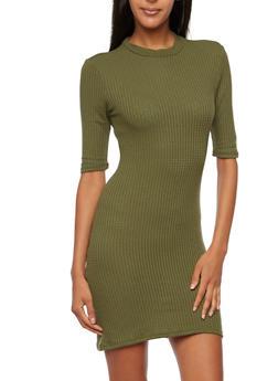 Knit Bodycon Dress with Mock Neck - 3094061639453