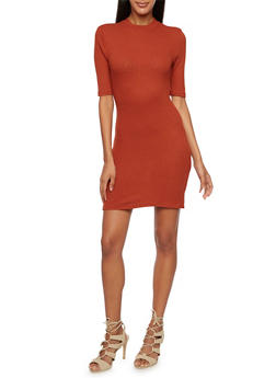 Knit Bodycon Dress with Mock Neck - 3094061639453