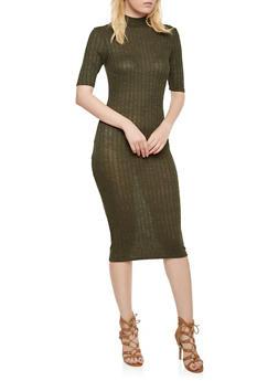 Marled Dress with Mock Neck - 3094061639455