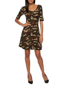 Skater Dress in Camo Print - 3094061639457