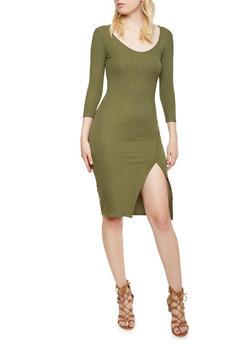 Ribbed Midi Dress with Fixed Wrap Hem - 3094061639458