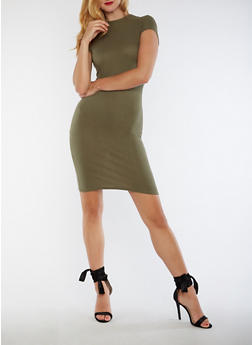 Ribbed Knit Mock Neck Bodycon Dress - 3094061639476