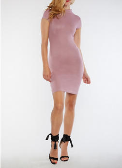 Ribbed Knit Mock Neck Bodycon Dress - MAUVE - 3094061639476