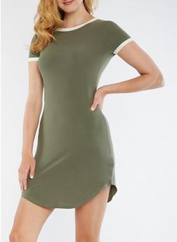 Short Sleeve Soft Knit Dress - 3094061639496