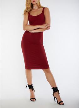 Pinstriped Midi Bodycon Dress - 3094061639502