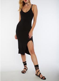 Double Strap Rib Knit Bodycon Dress - 3094061639505