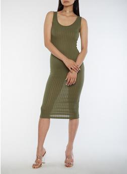 Sleeveless Ribbed Knit Midi Dress - 3094061639508