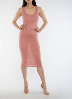 Sleeveless Ribbed Knit Midi Dress - ROSE - 3094061639508