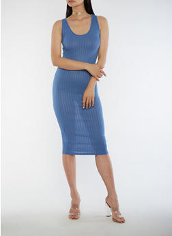 Sleeveless Ribbed Knit Midi Dress - 3094061639508