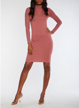 Mesh Sleeve Bodycon Dress - 3094061639601