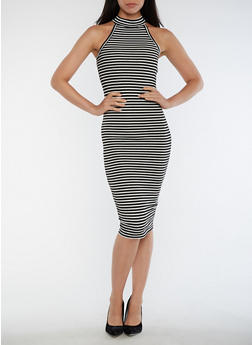 Striped Choker Neck Bodycon - 3094061639614