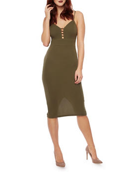 Mid Length Bodycon Dress with Lattice Detail Bust - 3094069390222