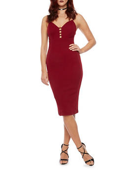 Bodycon Dress with Bust Cutouts - 3094069390222