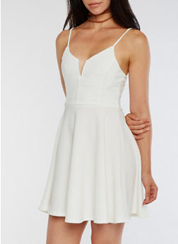 Soft Knit Skater Dress - WHITE - 3094069390309