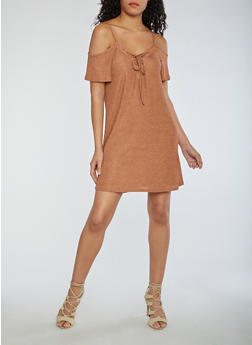 Two Tone Rib Knit Cold Shoulder Dress - 3094069390311