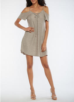 Two Tone Rib Knit Cold Shoulder Dress - TAUPE - 3094069390311