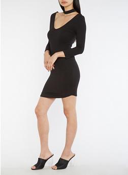 Long Sleeve Choker Neck Bodycon Dress - 3094069390327