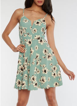 Sleeveless Floral Skater Dress - 3094069390409