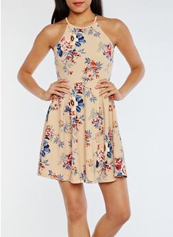 Sleeveless Floral Skater Dress - 3094069391310