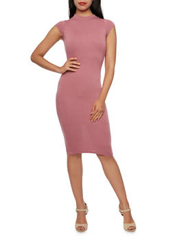 Bodycon Dress with Cutout Back and Mockneck - 3094069392179