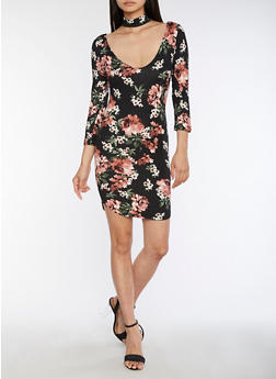Floral Choker Bodycon Dress - 3094069392327