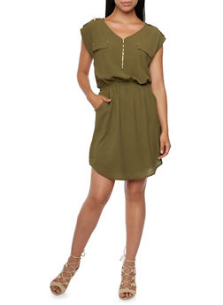 Shirt Dress with Zip Neck and Button Tabs - 3094069392484